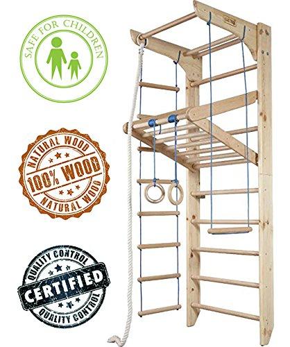 Indoor Climbing (Dani LLC Certified products! Indoor Home Gym Wooden Wall Bars Gymnastic Ladder Climbing Bar Wood Stall Bar KN-04-220 Swedish ladder Gymnastic sportcomplex)