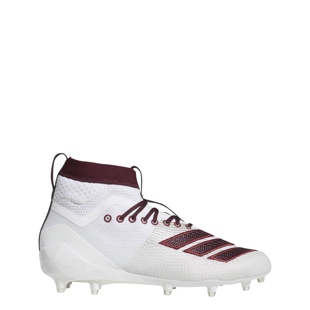 adidas Men's Adizero 8.0 SK Football Shoe, White/Maroon/Collegiate Burgundy, 6.5 M US