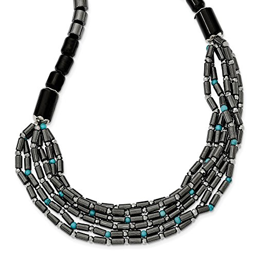 Sterling Silver Agate Crystal Hematite and Simulated Turquoise With 2inch Ext Necklace - 16.5 Inch