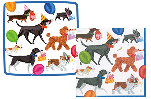 Winston and Friends Party Supply Pack! Dogs Going to a Party Themed Bundle Includes Plates and Napkins for 8 Guests -