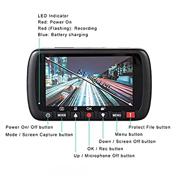 Cansonic UltraDash S1 Dash Cam Car Camera DVR Dashboard Digital Driving Video Recorder with Full HD 1080P, 140 Degree Wide Angle, G-Sensor, WDR Night Mode, Loop Recording, Parking Mode, 2.7 Inch LCD