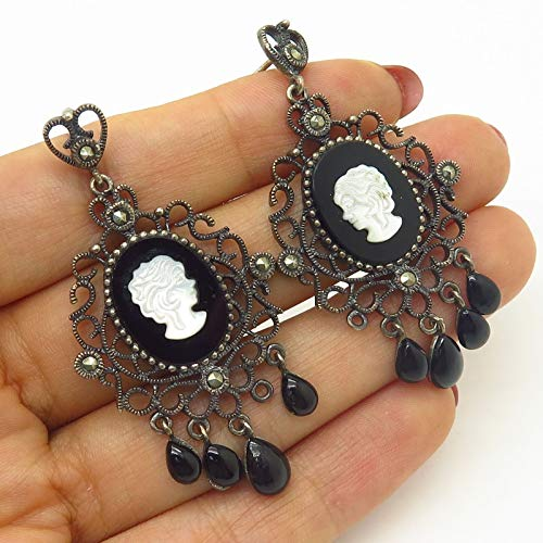 (VTG 925 Sterling Silver Black Onyx & MOP Victorian Lady Cameo Dangling)