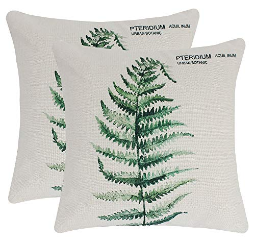 JINBEILE Set of 2 Green Fern Leaf Throw Pillow Covers Cotton Linen Decorative Square Cushion Covers Sofa Home Pillow Case 18x18 ()