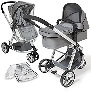 TecTake 3 in 1 Pushchair Stroller Combi Stroller Buggy Baby Jogger Travel Buggy Kid's Stroller (Grey)