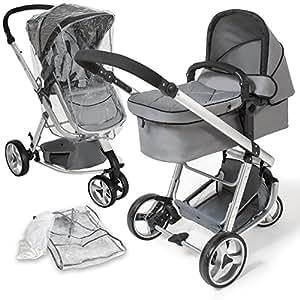 TecTake 3 en 1 Sillas de paseo coches carritos para bebes convertible gris con Protección contra mosquitos y lluvia
