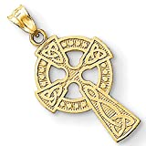 "14k Gold Solid Textured Celtic Cross Pendant with Satin Finish (1.2"" Height)"