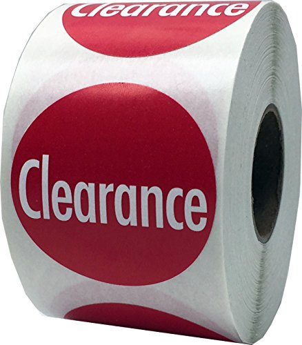 InStockLabels Clearance Labels 1 1/2 Inch 500 Adhesive Stickers, Red With White Lettering