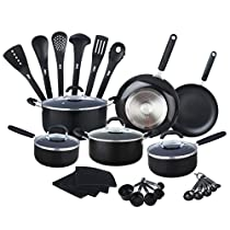 HULLR Aluminum Nonstick All In One Kitchen Cookware Set Includes Stock Pot, Dutch Oven, Frying/ Sauté Pan, Saucepan, Serving Utensils, Measuring Cups/ Spoons and More, Induction Base (30 Count) Black