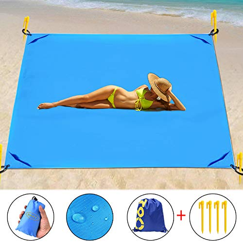 KAYCY Outdoor Beach Pocket Blanket, Compact Beach Blanket for Camping, Hiking -Waterproof Damp-Proof Sand Free Mat 79
