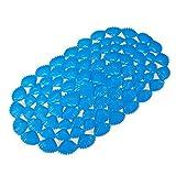 Fangkun Non-Slip Bathtub Mats,Cartoon Sea Shell Oval Shower Bath mat Anti-Bacterial Tub Kitchen Balcony Washable 15 W x 27 L Inches (Blue)