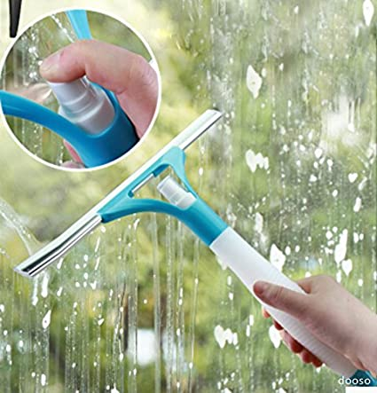 "Shower Squeegee Mini Wiper with 10"" Rubber Blades & Spray Bottle for Car Cleaning 