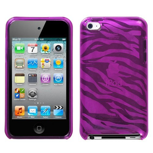 (Premium TPU Flexi Soft Gel Skin for Apple iPod Touch 4th Generation, 4th Gen - Zebra Print (Hot Pink))