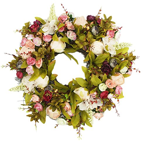 Emlyn Door Wreath Silk Rose Heads Pink Flower Wreath 15.7