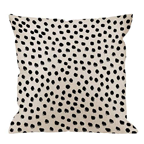 Needyounow Black Polka Dots, Humor Linen Cotton Throw Pillow Covers Cases for Living Room, Bedroom, Home Office,Car Decoration,18