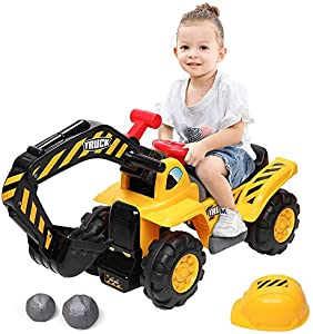 MACAW Kids Ride On Car Construction Excavator,Digger Scooter Tractor Toys Excavator Without Power Two Plastic Artificial Stones A Hat Moving Forward Backward Pretend Play Ride On Truck, Yellow