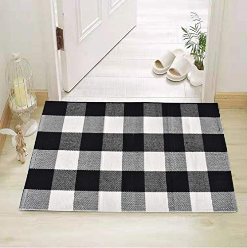 (Cotton Bath Runner Buffalo Check Rug Black and White Plaid Runner Doormat Hand-Woven Checkered Carpet forDoorway/Kitchen/Bathroom/Entry Way/Laundry Room/Bedroom (24