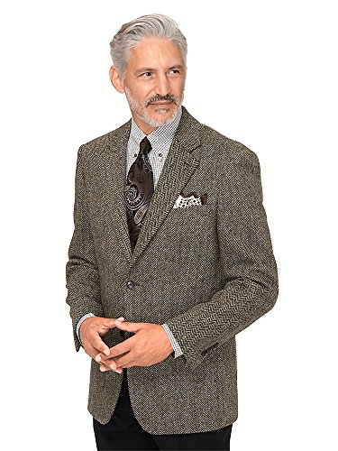 Paul Fredrick Men#039s Harris Tweed Wool Herringbone Sport Coat Black/Brown 48 Regular