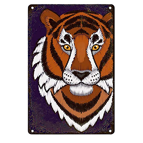 Embroidery Sign - Vintage Looking Tin Sign Embroidery Tiger Metal Plate Sign Home Store Decor Plaques