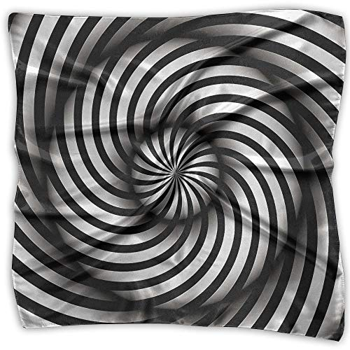 Vortex Spiral Visual Illusion Women Large Square Satin Head Bandanas Silk Like Neck Bandana