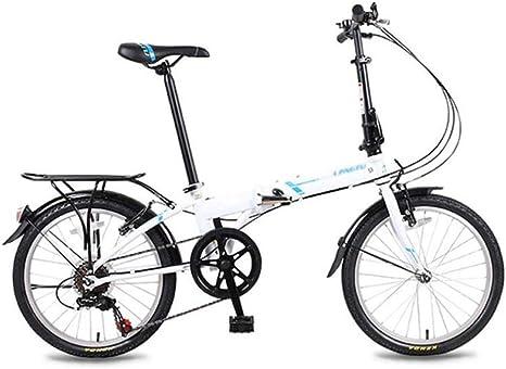 AOHMG Bicicleta Plegable Peso Ligero, 6- velocidades Adulto Ciudad ...