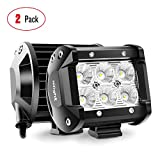 Nilight 60001F-B Bar 2PCS 18w 4' Flood Fog Road Boat Driving Led Work Light SUV Jeep Lamp,2 Years Warranty