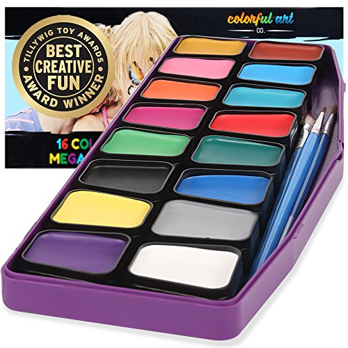 Award Winning Face Paint Kit For Kids | Professional MEGA16 Color Palette Best Face Painting Party Kits and Cosplay Body Paint Set | 30 Stencils | 3 Brushes | Non-Toxic, (Halloween Stencils For Painting Pumpkins)