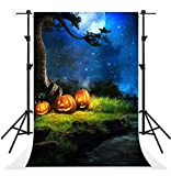 Kate 5x7ft Seamless Halloween Night Photography Backdrops Blue Sky Moon Background Photo Party Pumpkin Backdrop Booth