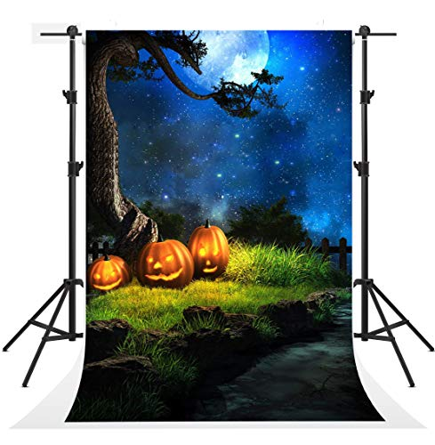 (Kate 5x7ft Seamless Halloween Night Photography Backdrops Blue Sky Moon Background Photo Party Pumpkin Backdrop Booth)