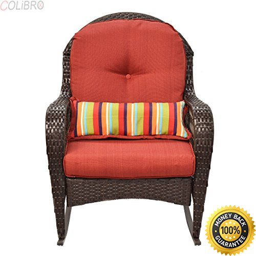 colibrox outdoor wicker rocking chair porch deck rocker patio furniture w cushion new diensday. Black Bedroom Furniture Sets. Home Design Ideas