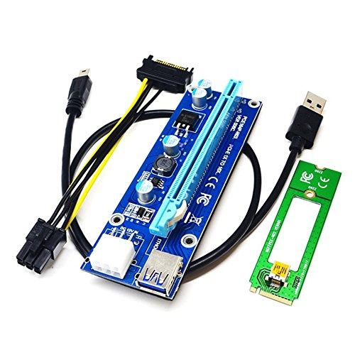 PCI-E riser extender,iGrace 1 Pack M2 NGFF TO 16X PCI-E Mining Powered Riser Card Adapter with 1.96ft USB 3.0 Extension Cable,0.49ft SATA 15 PIN TO 6 PIN Cable PCE164P-N02 VER006C (Blue) by iGrace (Image #4)