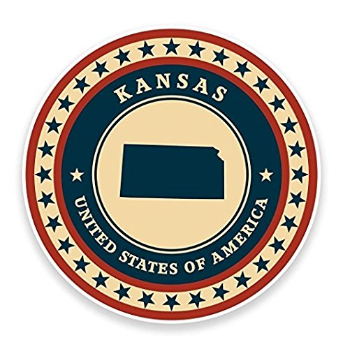 3 Pack - Kansas USA WINDOW CLING STICKER Car Van Campervan Glass - Sticker Graphic - Construction Toolbox, Hardhat, Lunchbox, Helmet, Mechanic, Luggage