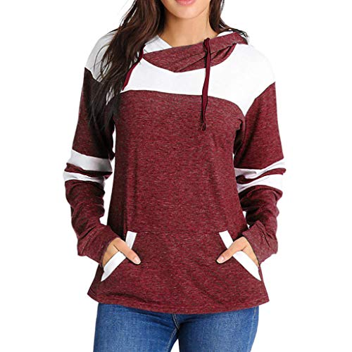 Sweatshirt Fashion 755 Londony ♥‿♥ Womens Active Hoodies Long Sleeves Color Block Patchwork with 2 Pockets ()