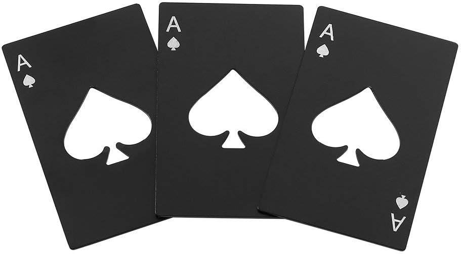 QLL 3 Pack Bottle Opener, Stainless Steel Credit Card Size Casino Bottle Opener for Your Wallet, Black [並行輸入品]