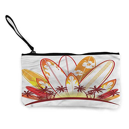 (Change purse Surfboard,Tropical Island Sunset W8.5