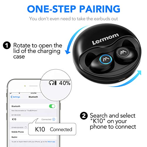 Bluetooth Headphones, Lermom Bluetooth 5.0 Wireless Earbuds True Stereo Sound Heavy Bass Binaural Microphone Calling Earphones Mini in Ear Headset 16Hours Battery Life with Charging Case for Sports