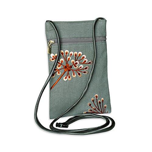 Embroidered Travel Coral Dandelion Crossbody Stone 5ww80qTA