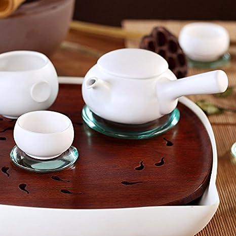 Zens blanco japonés chino de casa Kung Fu tetera infusor de floración - Tetera de porcelana construido en con mango largo para sistema de preparación para ...