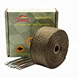 """LEDAUT 2""""x 25' Titanium Exhaust Header Wrap for Motorcycle Exhaust Tape With Stainless Ties"""