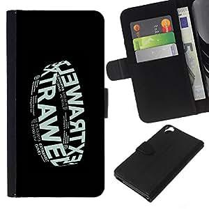 Be-Star la tarjeta de Crédito Slots PU Funda de cuero Monedero caso cubierta de piel Para HTC Desire 820 ( Electronic Music Band Black Poster )