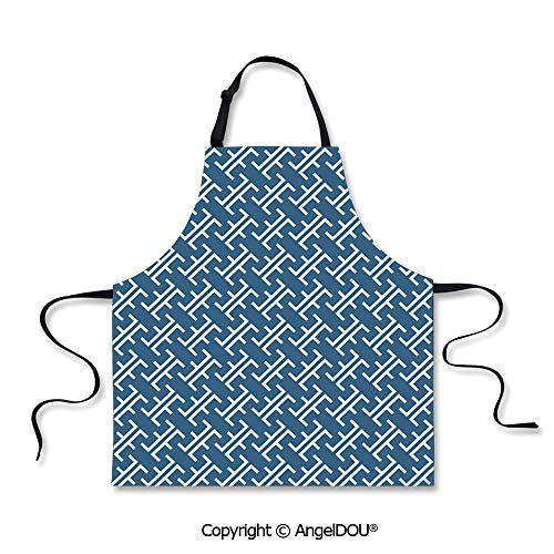 SCOXIXI Printed Unique Cool Kitchen Apron Ocean Waves Inspired Artwork in Japanese Style Illustration Oriental Curvy Cultural Waterproof Aprons for Restaurant BBQ Grill. -