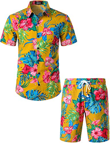 JOGAL Men's Flower Casual Button Down Short Sleeve Hawaiian Shirt Suits (Ginger, -