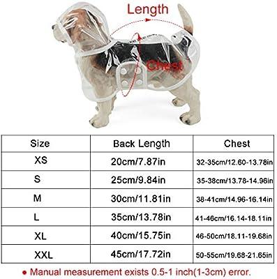 LONG-C Durchsichtiger Hund Regenmantel Haustier Regenmantel Wasserdicht Regenjacke Verstellbares Regencape