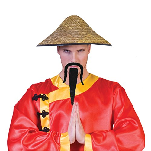 Funny Fashion Asian Samurai Fu Manchu Moustache Costume Goatee, Black
