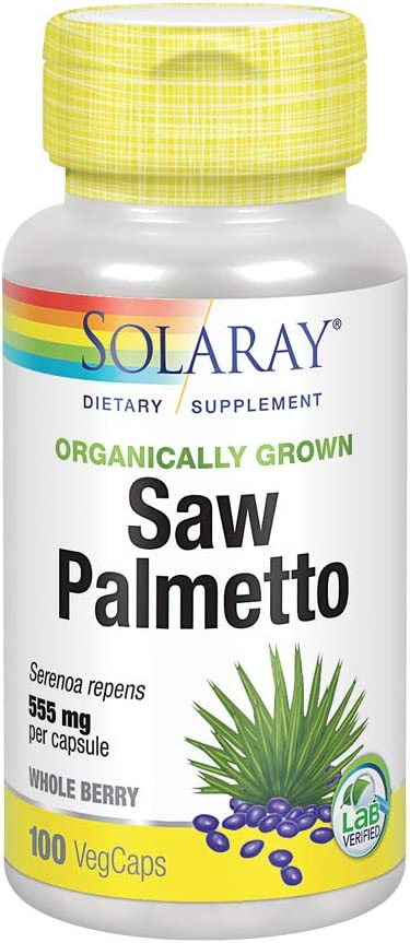 Solaray Organically Grown Saw Palmetto Berry 555mg | Healthy Prostate Support from Fatty Acids & Plant Sterols | Non-GMO, Vegan & Lab Verified | 100 VegCaps