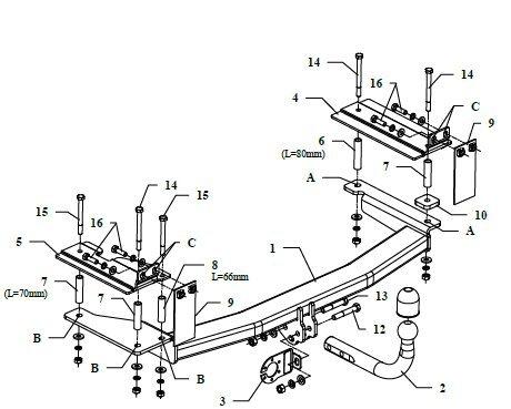 13-pol E-Satz Anhängerkupplung starr Opel Vectra B Stufenheck 1995//2002