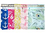 Designer Poly Mailers 10x13 : Peacock, Nautical, Flamingo, Daisy, Pink Aloha; Printed Self Sealing Shipping Poly Envelopes Bag (40 Mix Variety Pack #1)