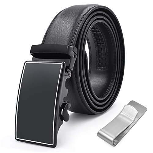 Mens Belt Genuine Leather Fashion Belt Automatic Sliding Ratchet Adjustable Black Belt S Size