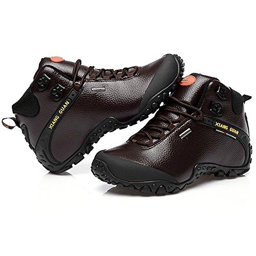 XIANG GUAN Zapatos de Deporte y Aire Libre, Botas de Cuero de Invierno para Senderismo para Hombre 81998 Marrón