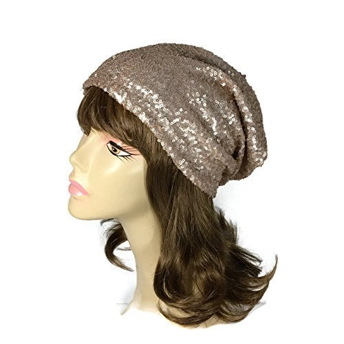 Amazon.com  Sequin Hat Sequin Slouchy Hat Rose Gold Sequin Slouchy ... 85f6c480311