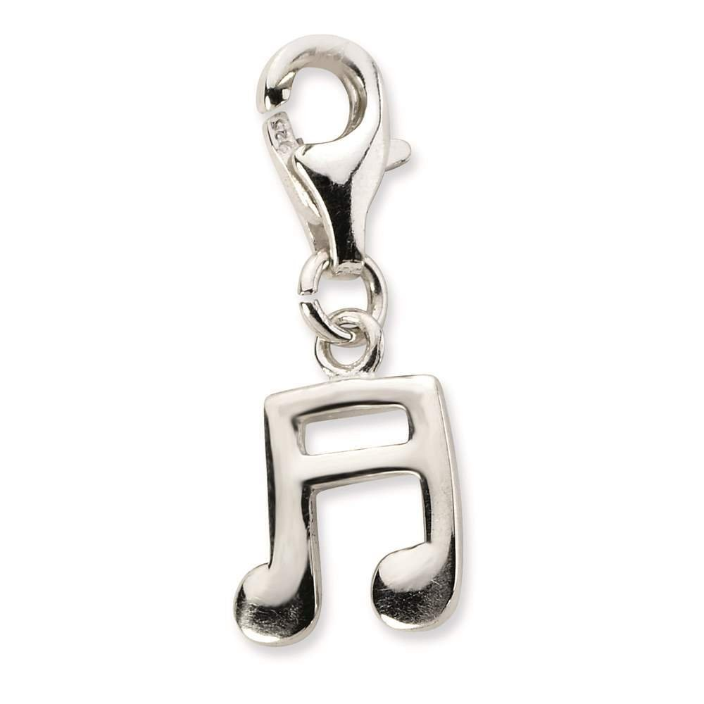 Amore La Vita Collection 925 Sterling Silver Polished 3-D Beamed Sixteenth Note w// Lobster Clasp Charm
